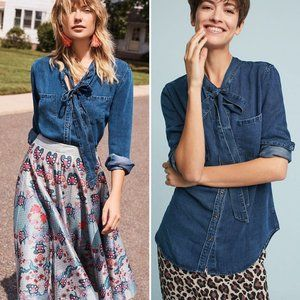 Rails Rosalee Tie Neck Button Down Chambray Shirt